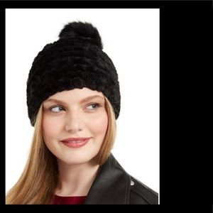 Calvin Klein Furry Pom Beanie Hat - Navy Color
